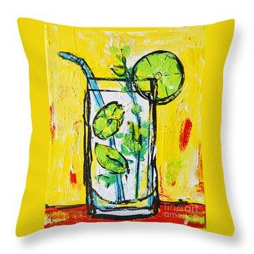 Mojito - Latin Tropical Drink Modern Art Throw Pillow