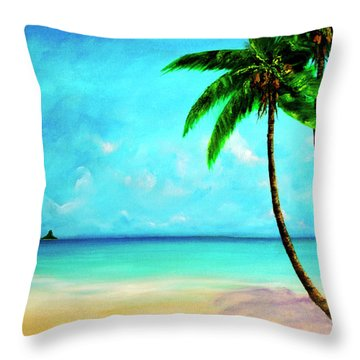Mokolii Chinamans Hat From Waiahole Beach Park #280 Throw Pillow by Donald k Hall