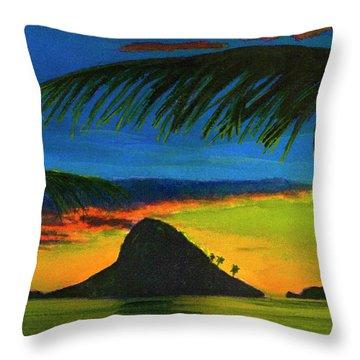 Mokolii Sunset #80  Throw Pillow by Donald k Hall