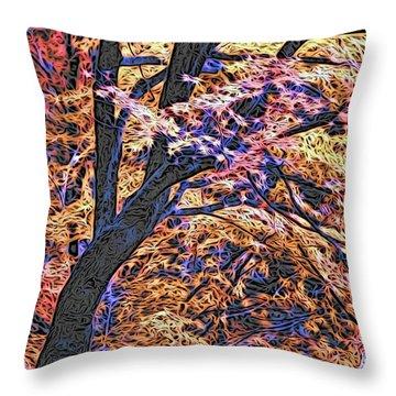 Moku Hanga Autumn Throw Pillow