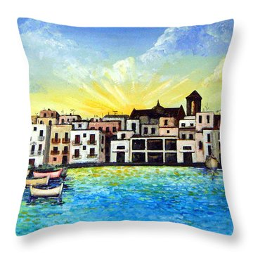 Mola Di Bari 1980 Throw Pillow