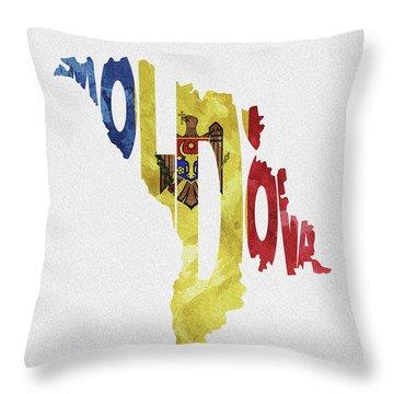 Moldova Typographic Map Flag Throw Pillow
