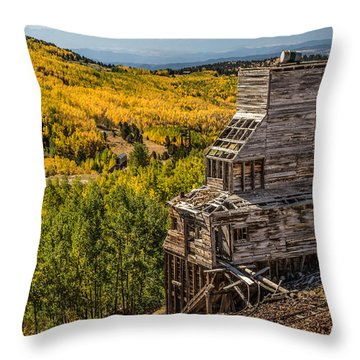 Mollie Kathleen Gold Mine In Autumn Throw Pillow