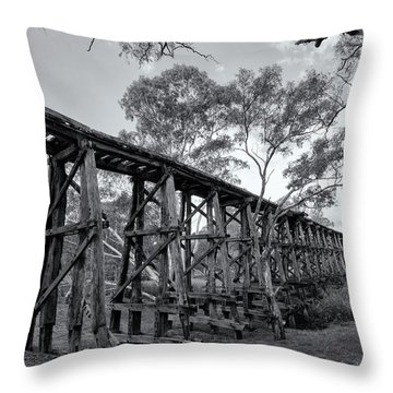 Throw Pillow featuring the photograph Mollisons Creek Trestle Bridge by Linda Lees