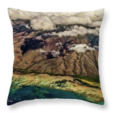 Throw Pillow featuring the photograph Molokai From The Sky by Joann Copeland-Paul