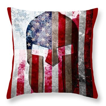 Molon Labe - Spartan Helmet Across An American Flag On Distressed Metal Sheet Throw Pillow