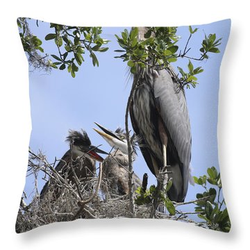 Mom And Babies Throw Pillow by Deborah Benoit