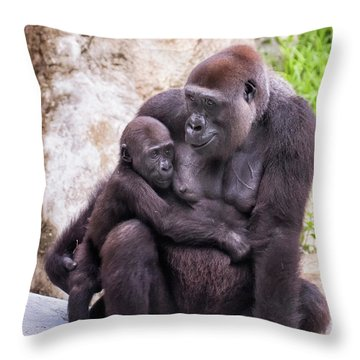 Mom And Baby Gorilla Sitting Throw Pillow by Stephanie Hayes