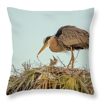 Mom And Chick Throw Pillow