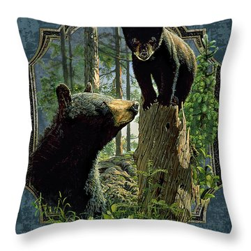 Mom And Cub Bear Throw Pillow