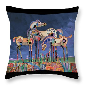 Throw Pillow featuring the painting Mom And Foals by Bob Coonts