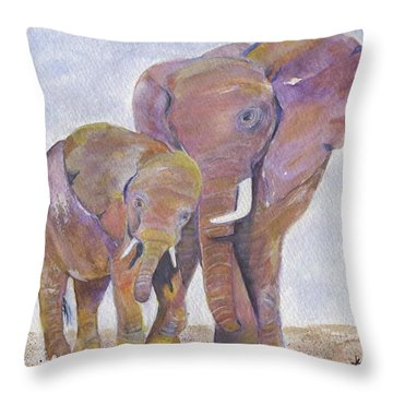 Throw Pillow featuring the painting Mom And Me by Jamie Frier