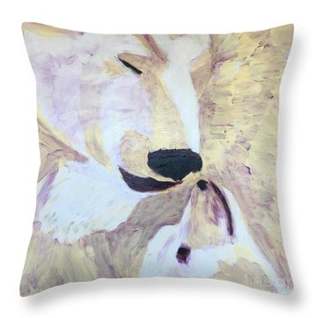 Throw Pillow featuring the painting Momma Bear Checking On Her Cub by Donald J Ryker III
