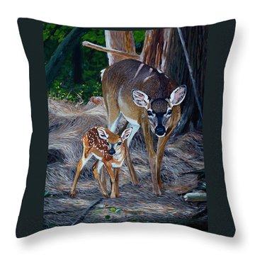 Mom Deer Throw Pillow