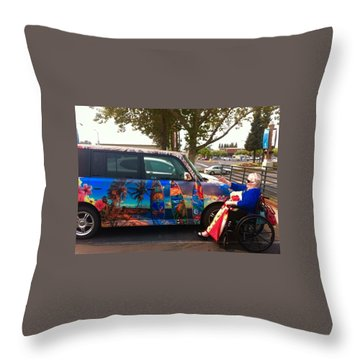Mom Loves Surf Car Throw Pillow