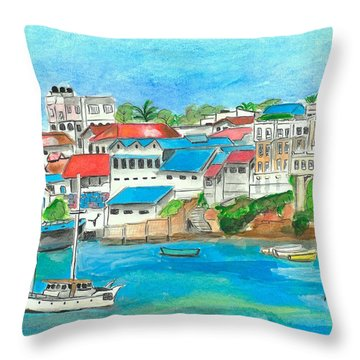 Mombasa Town Throw Pillow