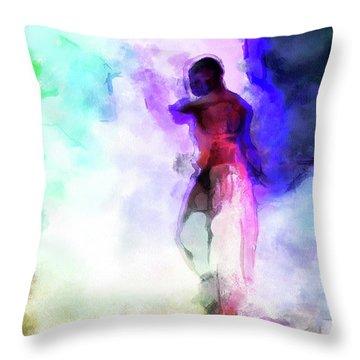 Moment In Blue - African Dancer Throw Pillow