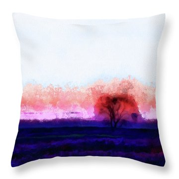 Moment In Blue Horizon Tree Throw Pillow