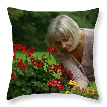 Moments In The Garden Throw Pillow by Inspired Nature Photography Fine Art Photography