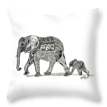 Momma And Baby Elephant Throw Pillow by Kathy Sheeran
