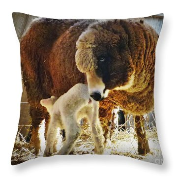 Mommy And Dottie Throw Pillow by Julia Hassett