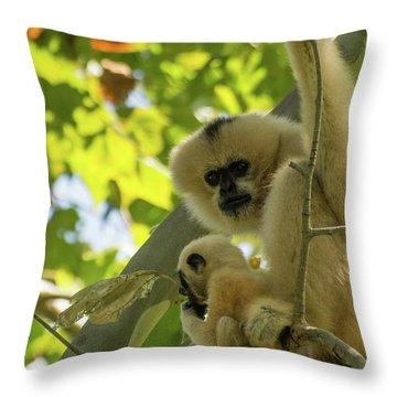 Mommy Gibbon Throw Pillow