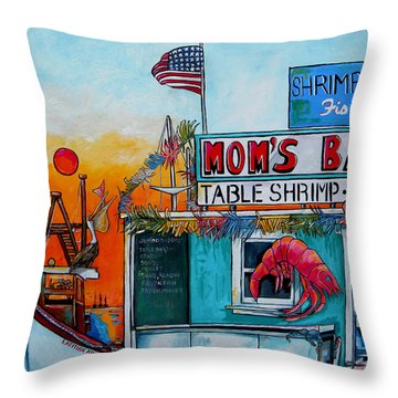 Moms Bait Shop Throw Pillow