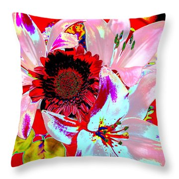 Mom's Day Bouqet Abstract Throw Pillow by M Diane Bonaparte