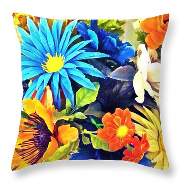 Moms Plastic Flowers Throw Pillow by Gwyn Newcombe