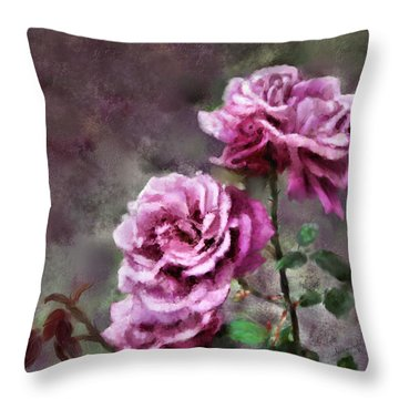 Throw Pillow featuring the digital art Moms Roses by Susan Kinney