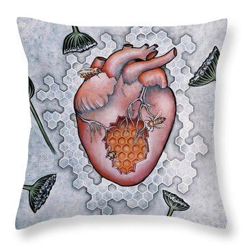 Mon Coeur- Where The Honeybees Live Throw Pillow by Sheri Howe