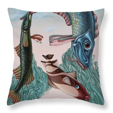 Mona Lisa. Water Throw Pillow