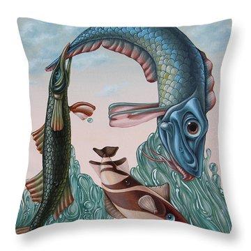 Mona Lisa. Water Throw Pillow