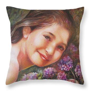Mona Lisa's Smile Throw Pillow by Patricia Schneider Mitchell
