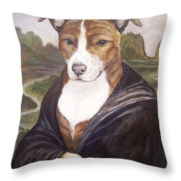 Throw Pillow featuring the painting Mona Pitta by Laura Aceto