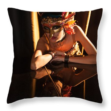 Mona. Reflection On Grand Piano Throw Pillow
