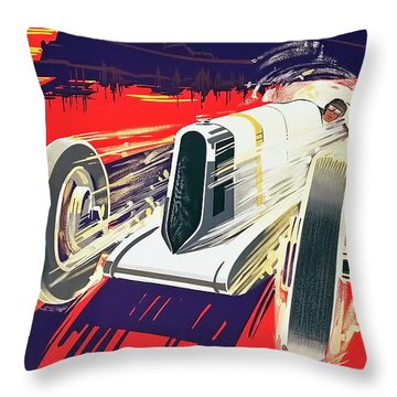 Throw Pillow featuring the digital art Monaco Grand Prix 1930 by Taylan Apukovska
