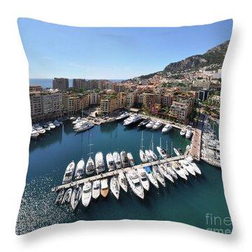 Throw Pillow featuring the photograph Monaco Port De Fontvieille  by Yhun Suarez