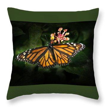 Monarch Butterfly On Lantana Throw Pillow