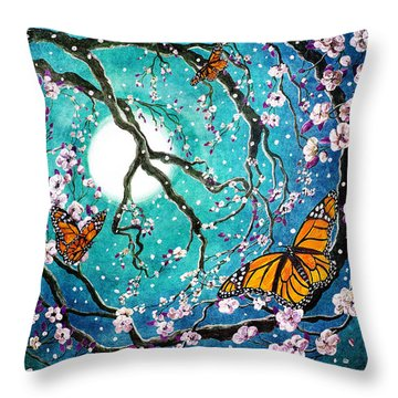 Monarch Butterflies In Teal Moonlight Throw Pillow by Laura Iverson