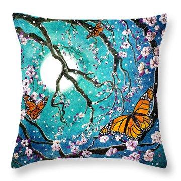 Monarch Butterflies In Teal Moonlight Throw Pillow
