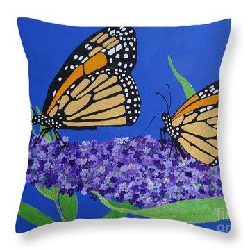 Monarch Butterflies On Buddleia Flower Throw Pillow