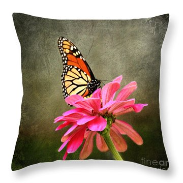 Monarch Butterfly And Pink Zinnia Throw Pillow by Judy Palkimas