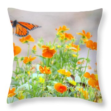 Monarch Butterfly In The Flowers Throw Pillow