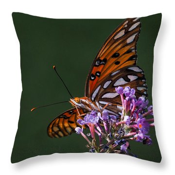 Monarch Butterfly On A Butterfly Bush Throw Pillow