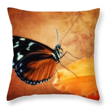 Monarch Butterfly On An Orchid Petal Throw Pillow