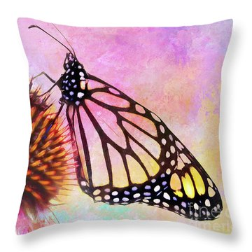 Monarch Butterfly On Coneflower Abstract Throw Pillow
