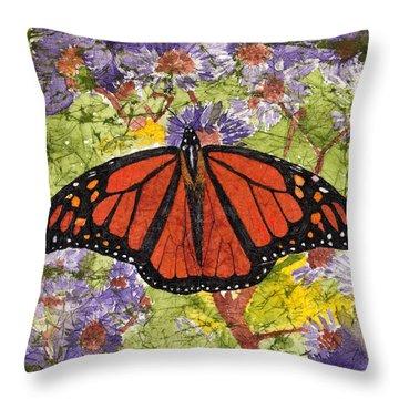 Monarch Butterfly On Purple Flowers Watercolor Batik Throw Pillow