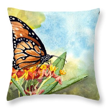 Throw Pillow featuring the painting Monarch Butterfly by Sam Sidders