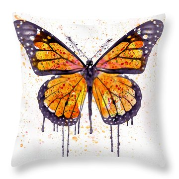 Monarch Butterfly Watercolor Throw Pillow